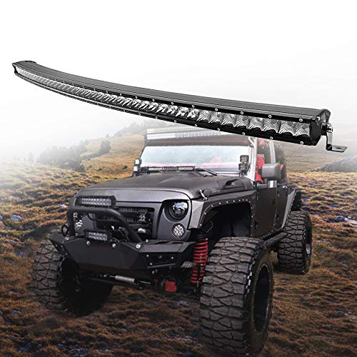 210 Single - 42inch CREE Curved LED Light Bar 210W single Row Spot Flood Combo Driving Lamp LED Work Light for Off Road Truck Car ATV SUV UTE UTV Jeep Boat,IP67 Waterproof