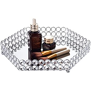 Feyarl Crystal Hexagon Cosmetic Tray Jewelry Organizer Vanity Tray Mirrored Decorative Tray (Silver)