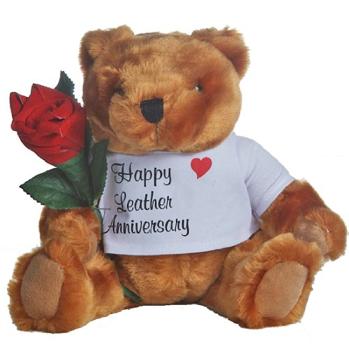 Happy 3rd Wedding Anniversary Teddy Bear with Leather Rose Gift