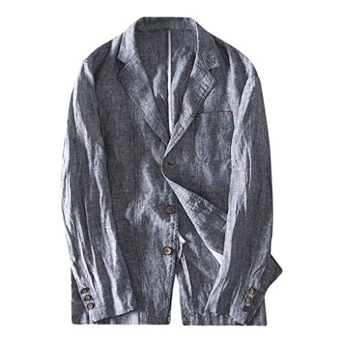 Benficial Men's Slim Fit Linen Blend Pocket Stripe Long Sleeve Suits Blazer Jacket Outwear 2019 Fashion Style Gray