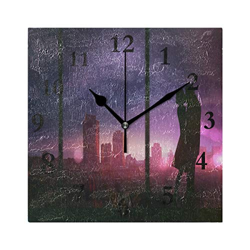 FunnyCustom Square Wall Clock Kiss Romantic Couple Love Wallpaper 7.8 Inch Creative Decorative for Living Room/Kitchen/Bedroom