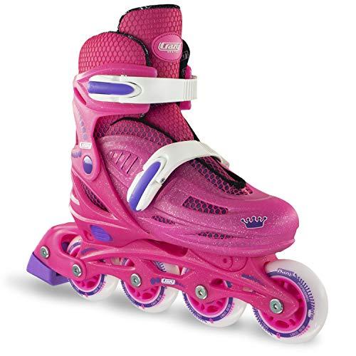 (Crazy Skates Adjustable Inline Skates for Girls |Beginner Kids Rollerblades | Pink with Purple | Medium (Sizes)