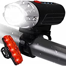 LEEQin USB Rechargeable LED Bike Light Set, Bicycle Headlight and Tail Light, Remaining Power Display, Waterproof Safety Flashlight for Camping, Kids, Men, Women and City Mountain Cycling