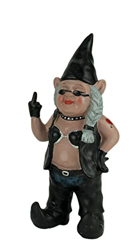 Zeckos Gnofun The Naughty Lady Biker Gnome Statue Motorcycle Leather 13 Inch