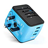 Portable Charger - International Power Adapter with 3 USB & 1 Type-C Port - Universal Travel Adapter for UK, EU, US, AU - Covers 150+ Countries (Blue)