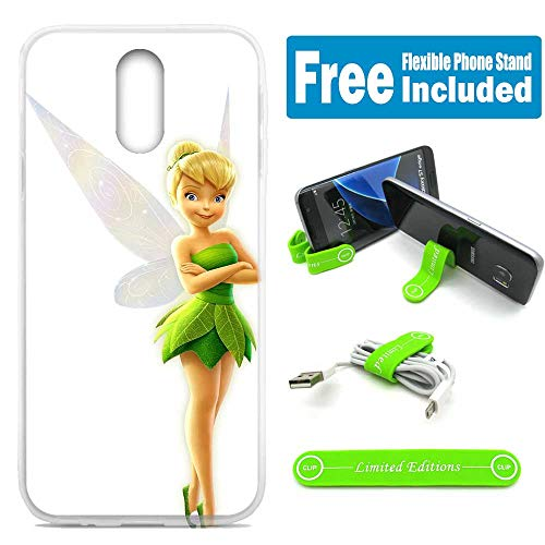 [Ashley Cases] for LG Q7 / Q7+ (Plus) / Q7α (Alpha) Cover Case Skin with Flexible Phone Stand - Tinkerbell White G