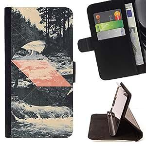 BullDog Case - FOR/LG G2 D800 / - / NATURE PATTERN WATERFALL SPRING RIVER /- Monedero de cuero de la PU Llevar cubierta de la caja con el ID Credit Card Slots Flip funda de cuer