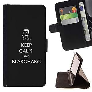For Apple iPhone SE / iPhone 5 / iPhone 5S Case , Guarde la calma y Blargharg LOL- la tarjeta de Crédito Slots PU Funda de cuero Monedero caso cubierta de piel