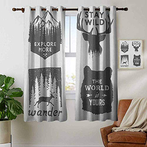 petpany Blackout Curtains Quotes,Wilderness Emblems Stay Wild Wander The World is Your Arrow Pine Wildlife Animals, Grey,Insulating Room Darkening Blackout Drapes for Bedroom ()