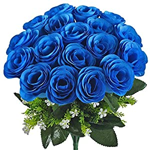 XYXCMOR Artificial Flower Bouquet 18 Heads Silk Roses Bridal Home Garden Office Dining Table Wedding Decor Blue 4