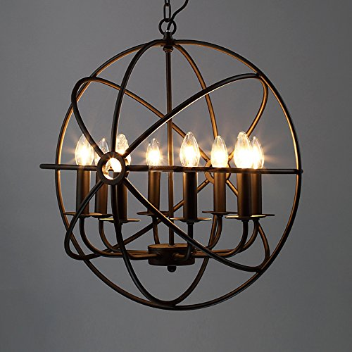 Industrial Vintage Retro Pendant Light - LITFAD 21'' Edison Metal Globe Shade Hanging Ceiling Light Chandelier Pendant Lamp Lighting Fixture Black Finish with 8 Lights by LITFAD