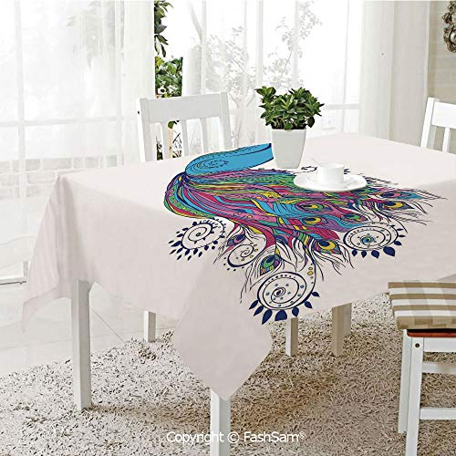 AmaUncle 3D Dinner Print Tablecloths Colorful Fashion Art with Peacock Pattern Stylish Ornament Table Protectors for Family Dinners (W55 xL72)]()