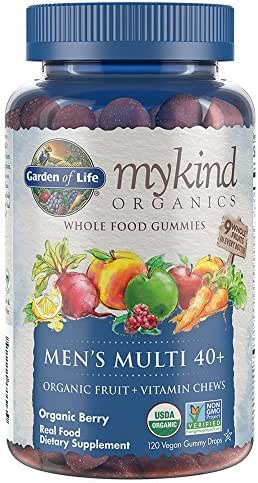Garden of Life - mykind Organics Men 40+ Gummy Vitamins - Berry - Certified Organic, Non-GMO, Vegan, Kosher Complete Multi - Methyl B12, C & D3 - Gluten, Soy & Dairy Free - 120 Real Fruit Gummies
