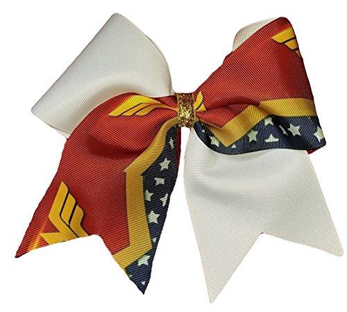 Super Hero Hair Bow - Cheer bows white Wonder Woman Themed Hair Bow