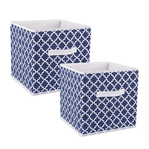 "DII Foldable Fabric Storage Containers for Nurseries, Offices, Closets, Home Décor, Cube Organizers & Everyday Use, 11 x 11 x 11"", Nautical Blue Lattice - Set of 2, Small,"