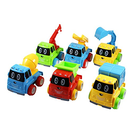 Construction Truck Toy Cars Set of 6 Friction Powered - Dump Truck, Cement Mixer, Excavator, Recycle, Tow & Ladder Trucks with Moving Parts Imagination Play Time For Toddlers, Boys & Girls