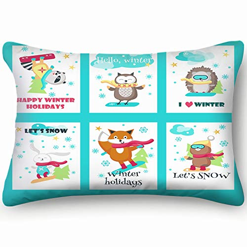 best bags Set Cards Cute Animals Snowboarders Winter Wildlife Active Signs Symbols Skin Cool Super Soft and Luxury Pillow Cases Covers Sofa Bed Throw Pillow Cover with Envelope Closure 1624 Inch