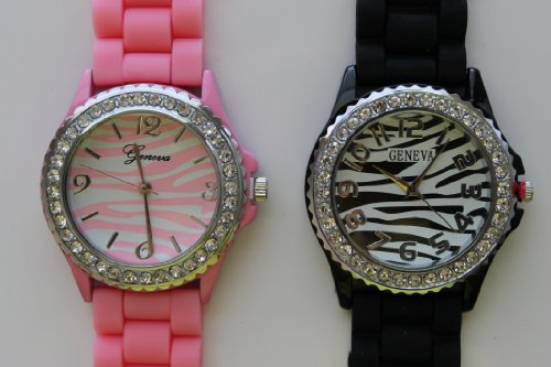 TWO Women's Geneva Light Pink and Black Zebra Platinum Silicone Rubber Jelly with CZ Crystal Rhinestones Face Bling Bezel