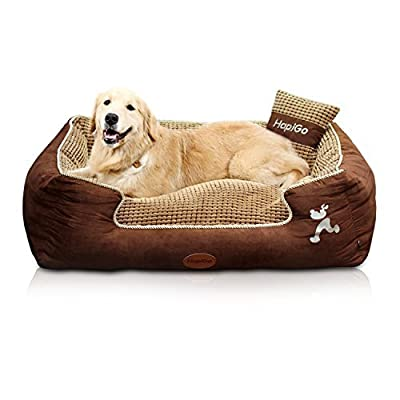 HappierGo Durable Bottom Waterproof Pet/Dog Bed, Ultra Soft Comfortable Mattress with Corn Pillow, Removable Designer Washable Cover