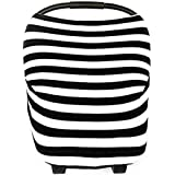 Baby Car Seat Cover- Breastfeeding Nursing Cover - High Chair - Shopping Cart - Baby Blanket Boys and Girls - Infinity Scarf - All-in-One Perfect Baby Shower Gift (Black&White Stripes)