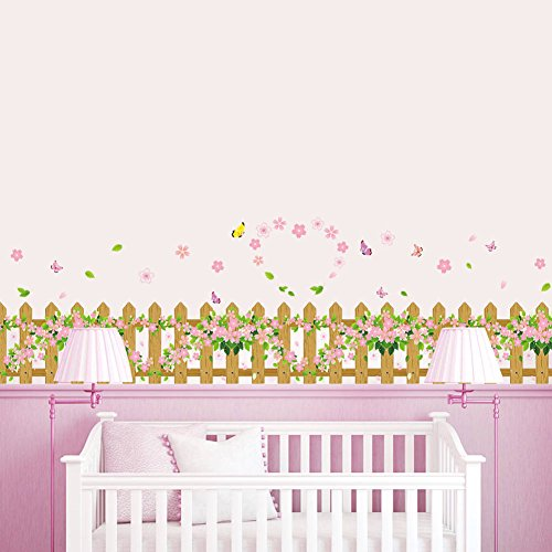 BIBITIME Garden Fence Flower Border Wall Decal Butterfly Skirting line Sticker for Living Room Corners Kitchen Cooking Bench Hearth Around PVC ()