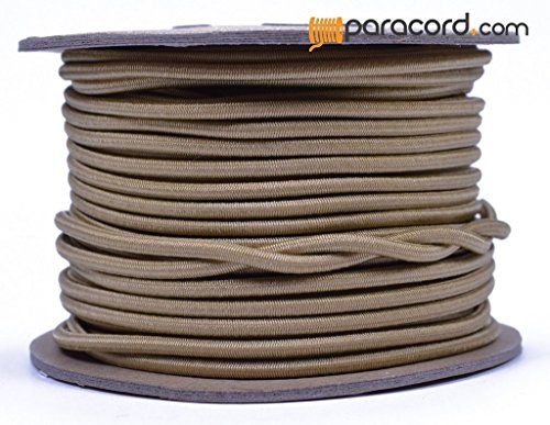 Gold 1/8'' Shock Cord - BORED PARACORD Marine Grade Shock / Bungee / Stretch Cord 1/8 inch x 100 feet Several Colors - Made in USA by BoredParacord