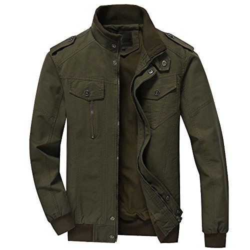 - RongYue Men's Cotton Stand Collar Lightweight Military Windbreaker Jacket
