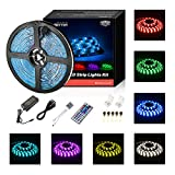 #7: Led Strip Lights Waterproof 16.4ft 5m Waterproof Flexible Color Changing RGB SMD 5050 150leds LED Strip Lighting Kit with 44 Keys IR Remote Controller and 12V Power Supply
