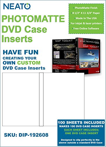 NEATO PhotoMatte DVD Case Inserts - 100 Pack - DIP-192608 - Online Design Access Code Included