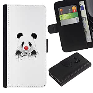 Billetera de Cuero Caso Titular de la tarjeta Carcasa Funda para Samsung Galaxy S3 MINI NOT REGULAR! I8190 I8190N / Funny Panda Clown Graphiti / STRONG