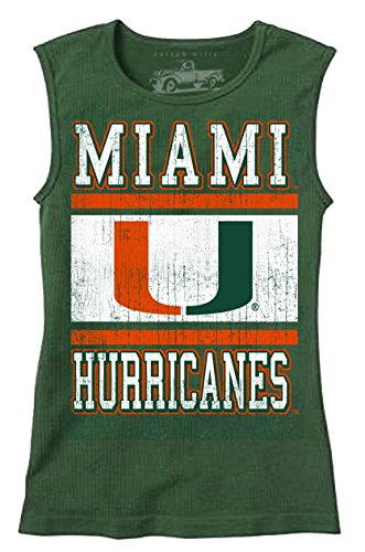 Ncaa Miami Hurricanes Canes - NCAA Miami Hurricanes Children Girls Sleeveless Tee,12,Evergreen Blend