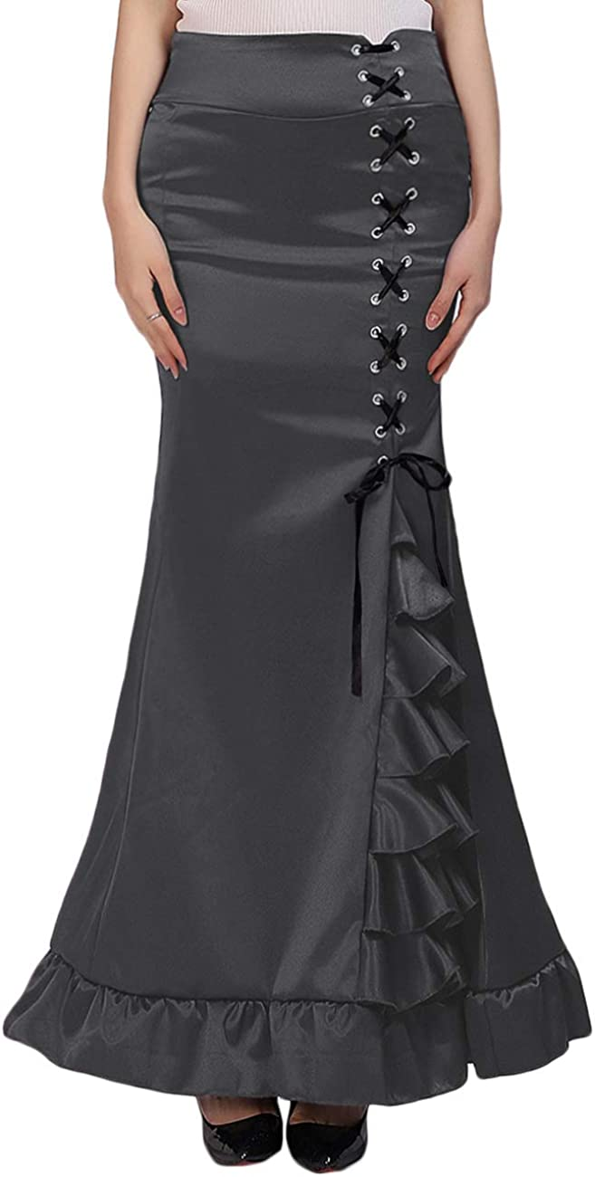 Damen Maxi Meerjungfrau-Linie Viktorianisch Gothic Partyrock Lang Steampunk Nixe