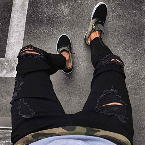 Fit Cher Strappati Denim Jeans Holes Neri Lunghi Skinny Pantaloni Aperta Uomo Con Comodo Nero All'aria Slim Battercake Chiusura Estivi Estate TZttq