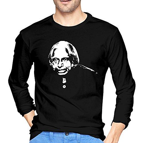 (Men's A.P.J. Abdul Kalam President Of India Silhouette T-shirts Black Long-Sleeve)