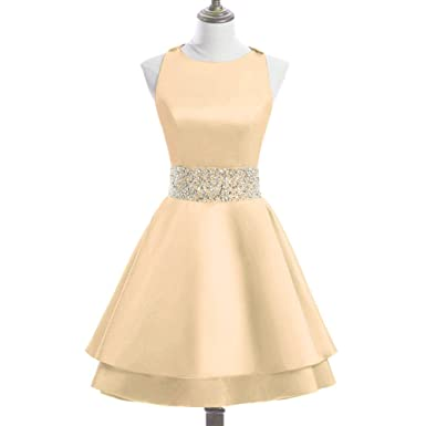 f0edcbbf844 MEILISAY Womens Crew Beading Prom Dresses Short Sequined Homecoming Dresses  for Teens Mini Cocktail Dresses LF