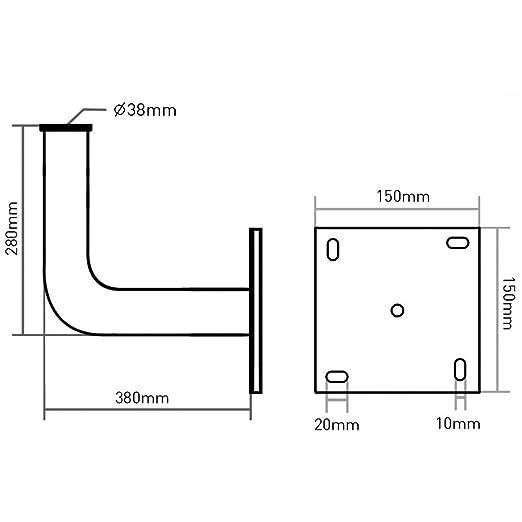 Maclean - Mctv-792 - Soporte de Pared para Antenas parabólicas Tipo l (Acero galvanizado, 28 centímetros): Amazon.es: Hogar