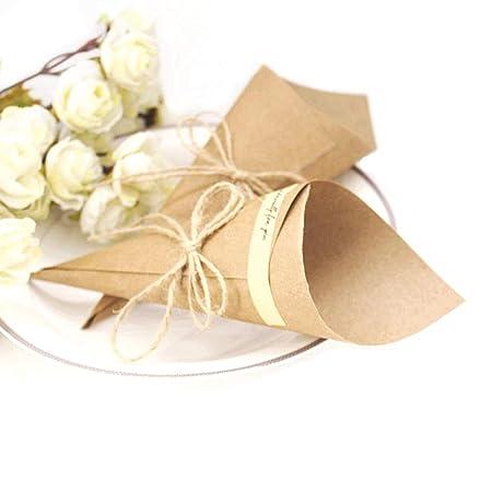 JZK 50 Fai da te segnaposto coni portaconfetti carta kraft partecipazione invito bomboniere per matrimonio compleanno Natale battesimo nascita laurea