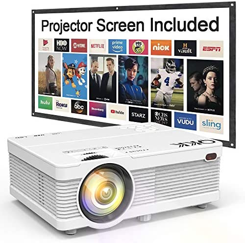 QKK Mini Projector 6500Lumens Portable LCD Projector [100″ Projector Screen Included] Full HD 1080P Supported, Compatible with Smartphone, TV Stick, Games, HDMI, AV, Projector for Outdoor Movies