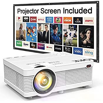 """QKK Mini Projector 4500Lumens Portable LCD Projector [100"""" Projector Screen Included] Full HD 1080P Supported, Compatible with Smartphone, TV Stick, Games, HDMI, AV, Outdoor Projector for Home Theater"""