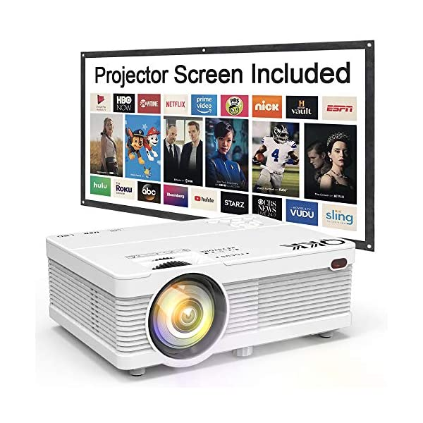 QKK Portable LCD Projector 2800 Brightness [100″ Projector Screen Included] Full HD 1080P Supported, Compatible with Smartphone, TV Stick, Games, HDMI, AV, Indoor & Outdoor Projector for Home Theater