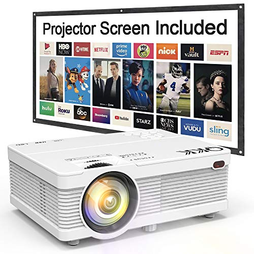 QKK Portable LCD Projector 2800 Lumens [100' Projector Screen Included] Full HD 1080P Supported, Compatible with Smartphone, TV Stick, PS4, HDMI, AV, Indoor & Outdoor Projector for Home Theater