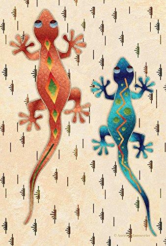 Toland Home Garden Geckos 28 x 40 Inch Decorative Artistic Southwest Desert Lizard House (House Lizard)