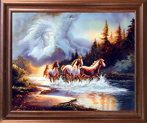Horse Runs in Lake with Indian Spirit Animal Wall Decor Mahogany Framed Picture Art Print (18x22) (Horse Gallery Spirit)