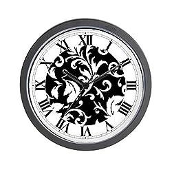 CafePress - BLACK AND WHITE DAMASK - Unique Decorative 10 Wall Clock