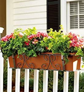 """Montebello 40"""" Powder-Coated Steel Self-Watering Planter with Adjustable Brackets in Anthracite"""
