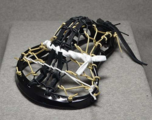 Blackfeet Lacrosse DARK KNIGHT Inspired by US Army Mini Stick Traditional strung Pita Pocket Black Leathers - Black Head with Espresso finish Handle