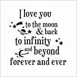 Fange DIY Removable I Love You to the Moon Back to Infinity Love Quotes Art Mural Vinyl Waterproof Wall Stickers Bed Kids Room Decor Livingroom Nursery Decal Sticker Wallpaper 20.9''x20.7''