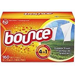 Procter & Gamble Commercial Products - Bounce Dryer Sheets, Reduces Static, 160 Sheets/BX - Sold as 1 BX - Dryer sheets help reduce static cling on garments as they come out of the dryer. Dryer sheets offer a time-released freshness and softness.