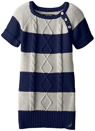 Nautica Little Girls' Striped Cable Knit Dress with Gold Buttons, Beige Heather, 2T