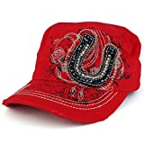 Fancy Horseshoe Cubic Stone Decorated Jeep Style Flat Top Army Cap - RED